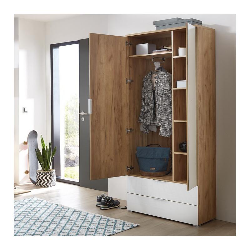 armoire entree scandinave avec penderie et miroir 196x84x40cm rosvik