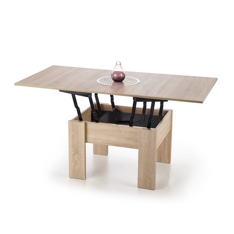 table basse extensible chene sonoma wink 80x80cm