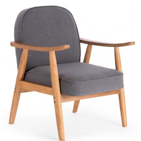 fauteuil design bois et tissu gris vince