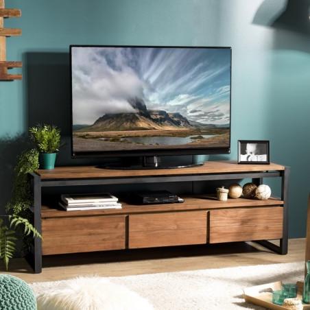 meuble tv design industriel teck et metal 160x40cm tinesixe
