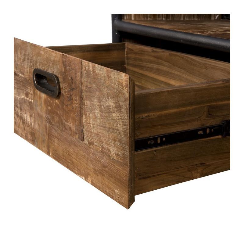 meuble tv a roulettes industriel teck et metal 175x38cm tinesixe