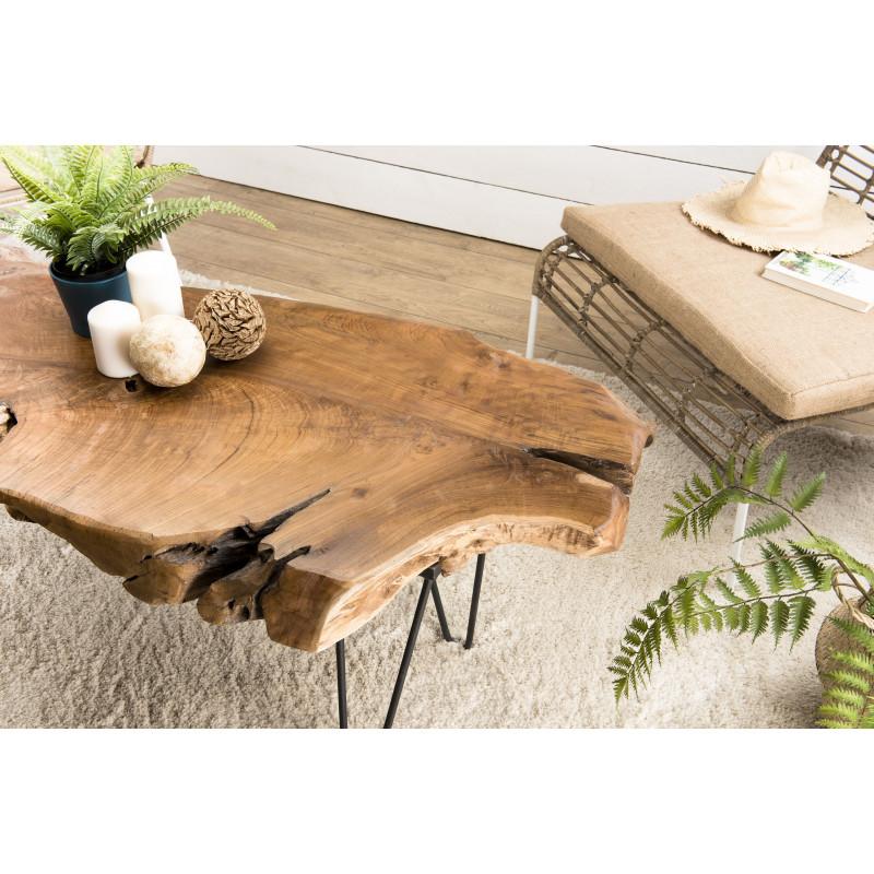 table basse design nature teck et metal woody