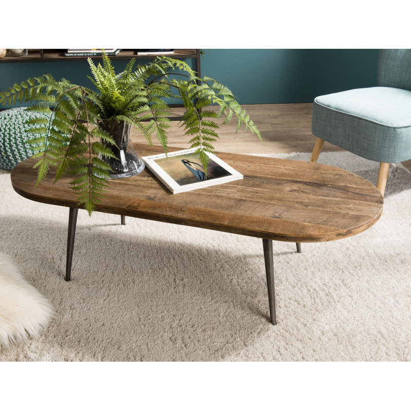 table basse ovale design industriel teck et metal 120x50cm tinesixe
