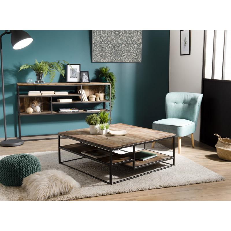 table basse carree design industriel teck acacia et metal 100x100cm tinesixe