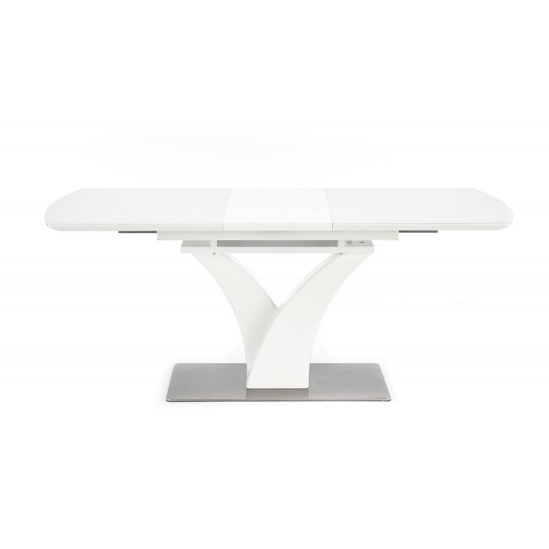 table rectangulaire extensible blanc mat avec pied central design sparte
