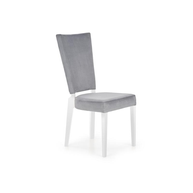 chaise blanche et grise avec pieds en hetre massif april