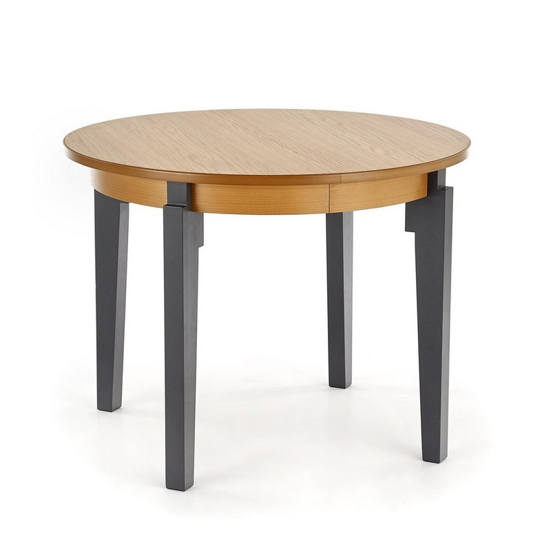 table ronde extensible plateau style chene avec pieds gris anthracite cox