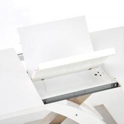 table a manger design blanc laque et verre avec rallonge cleo