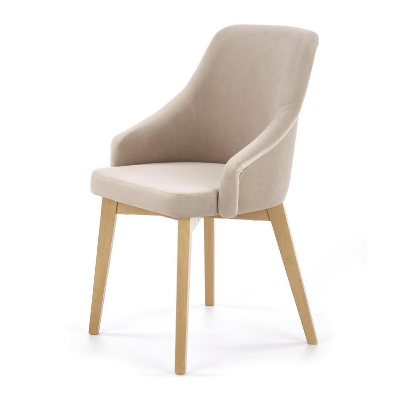 chaise tissu beige avec pieds en bois de hetre massif sweden