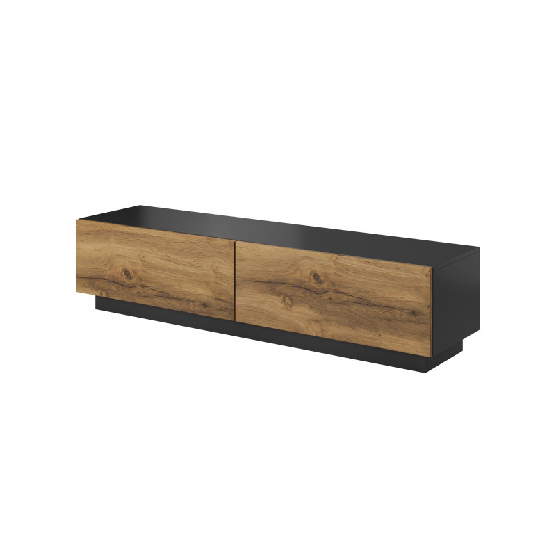 meuble tv aspect chene et anthracite 160 cm trevise