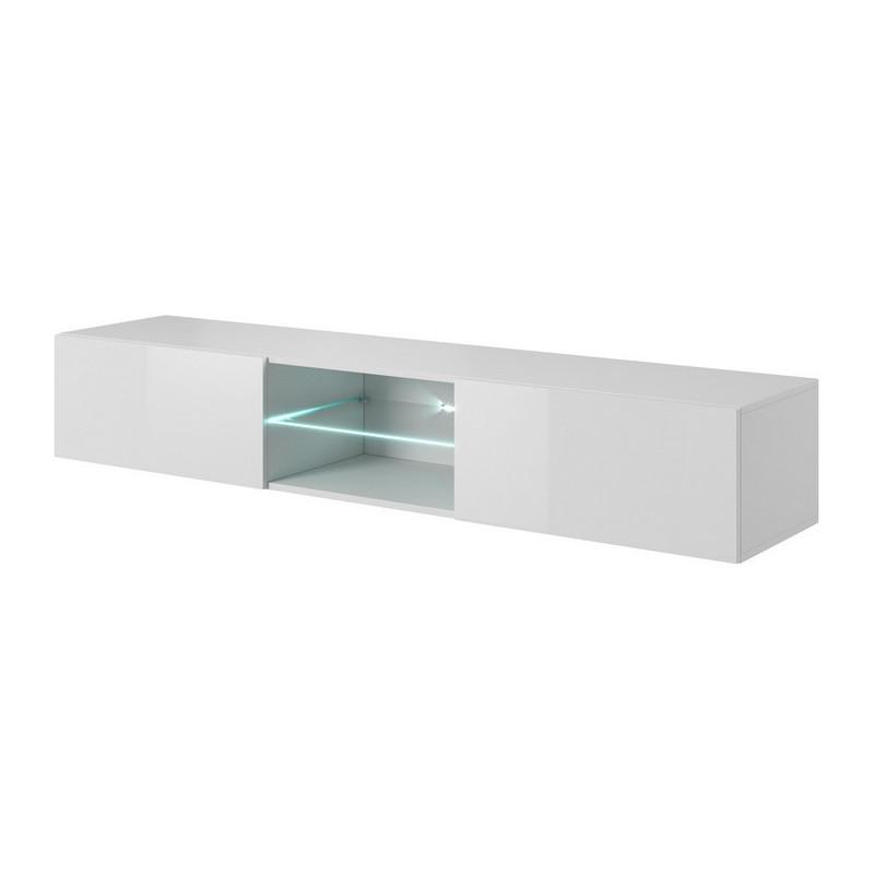 meuble tv a suspendre blanc brillant 180 cm avec eclairage led trevise