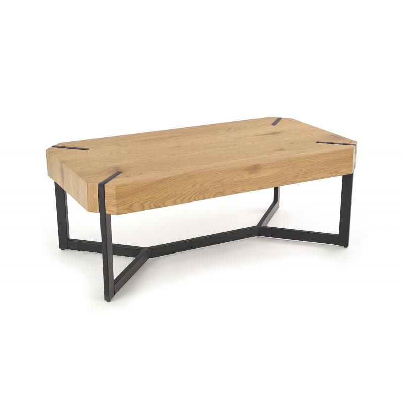 table basse design plateau style chene et pieds en acier noir brest