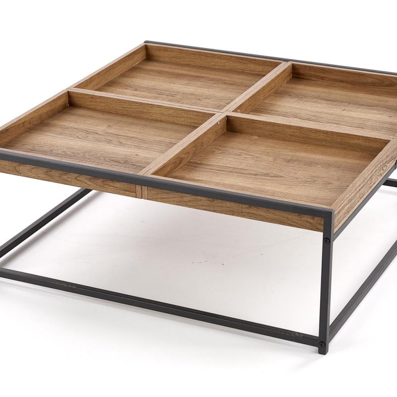 table basse carree bois et metal cubana