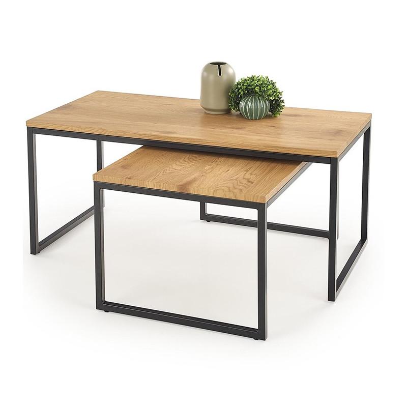 tables de salon gigogne style chene et metal hudson