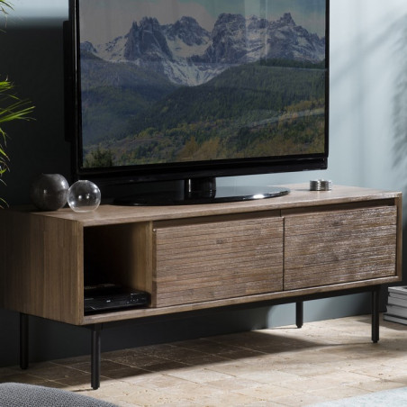 meuble tv 2 portes et 1 niche de rangement en acacia avec pieds metal river