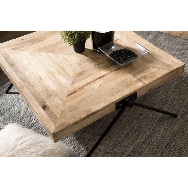table basse carree en bois de manguier et pieds compas en metal noir rhodes