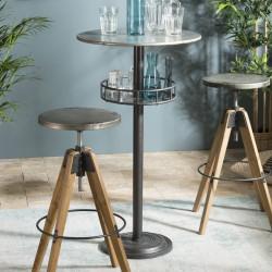 table de bar ronde avec plateau en zinc et pied en metal eole