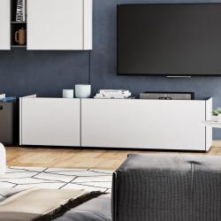 meuble tv bas blanc et gris 2 portes over