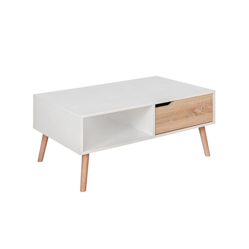 table basse blanche et style chene avec un tiroir finn