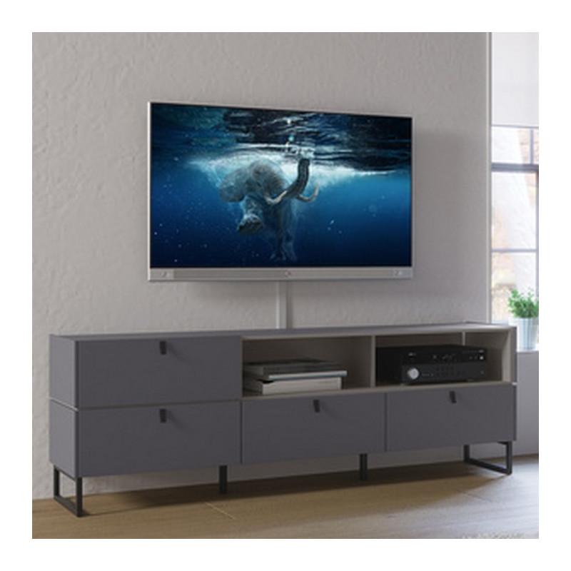 meuble tv 195 cm 4 tiroirs et niches de rangement gris graphite et pierre observer