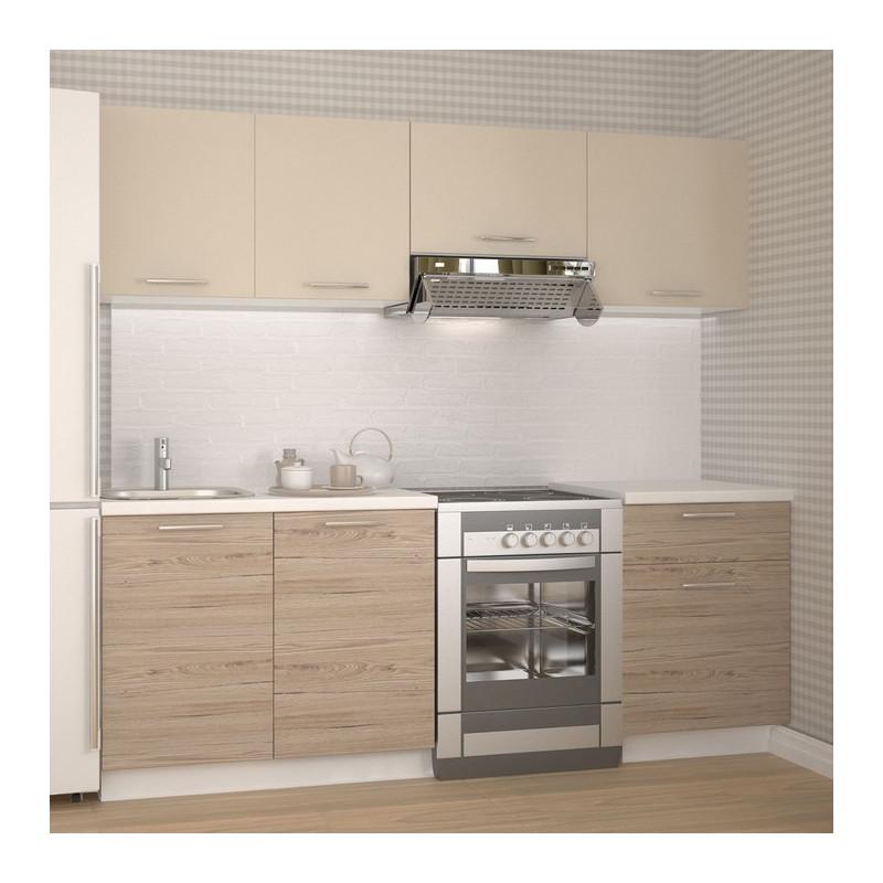 cuisine beige clair et aspect chene avec plan de travail blanc fargo