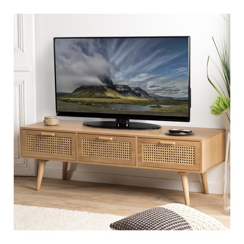 meuble tv aspect frene naturel avec trois tiroirs et cannage en rotin snow