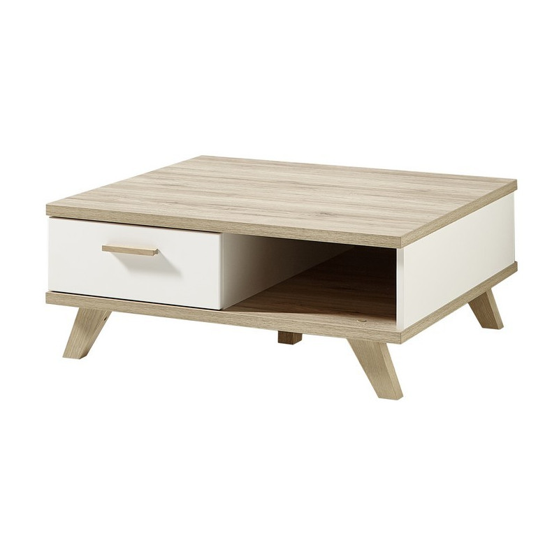 Table Basse Scandinave Carre 80 X 80cm Avec Tiroir Malmo