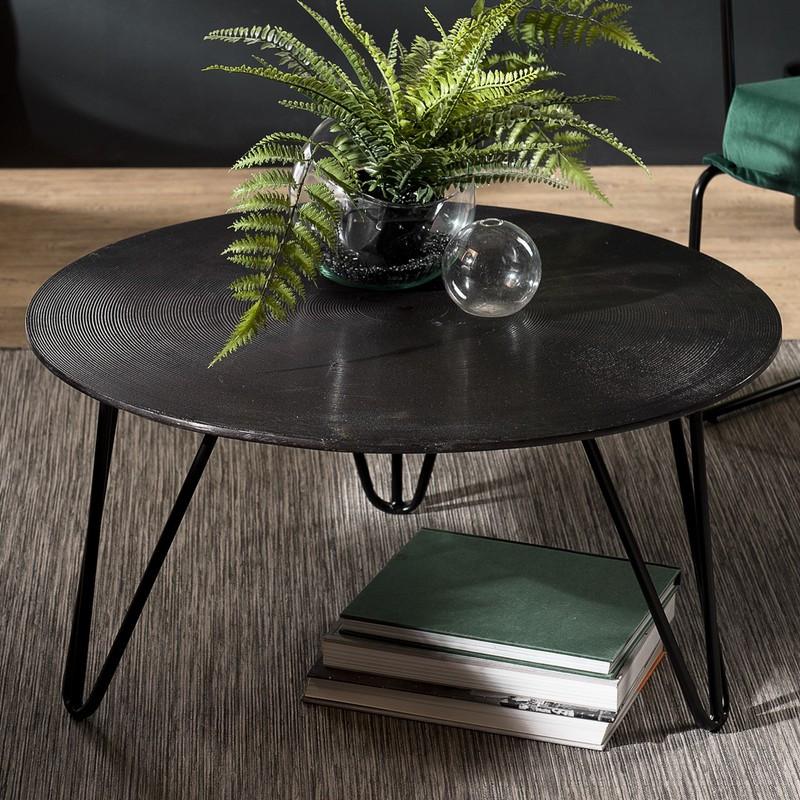 table basse ronde 75 cm de diametre en aluminium noir avec pieds epingles en metal elegance