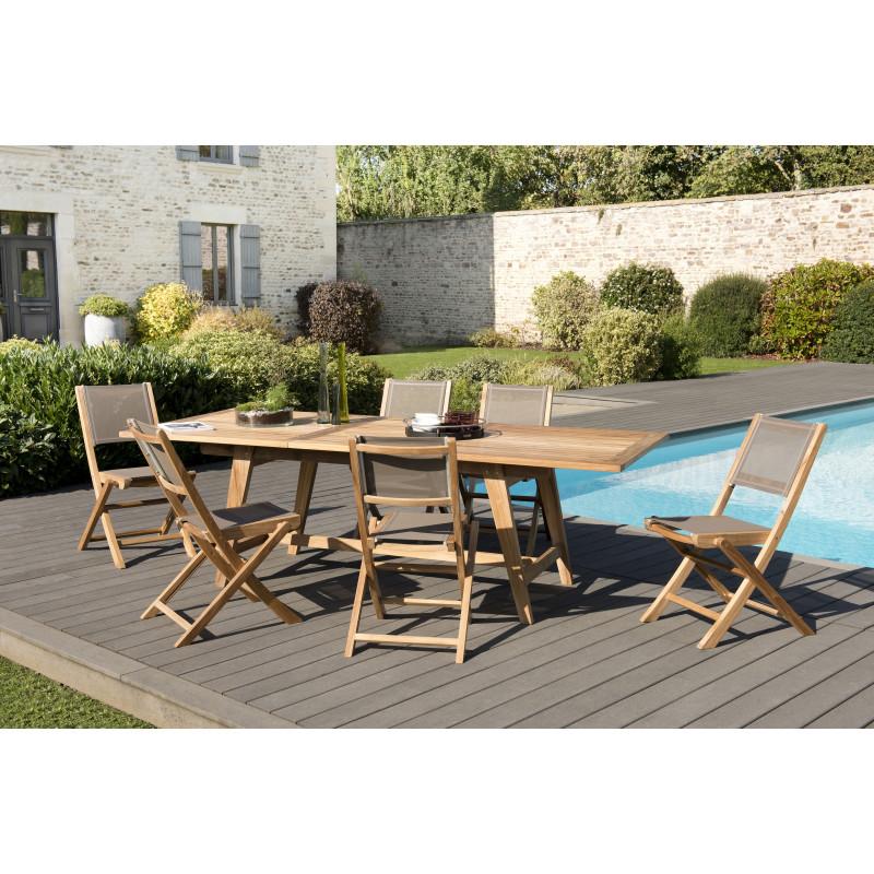 salon de jardin 6 places en teck avec table scandinave extensible chaises pliantes textilene taupe summer