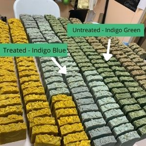 indigo can be green or blue depending on how it was processed