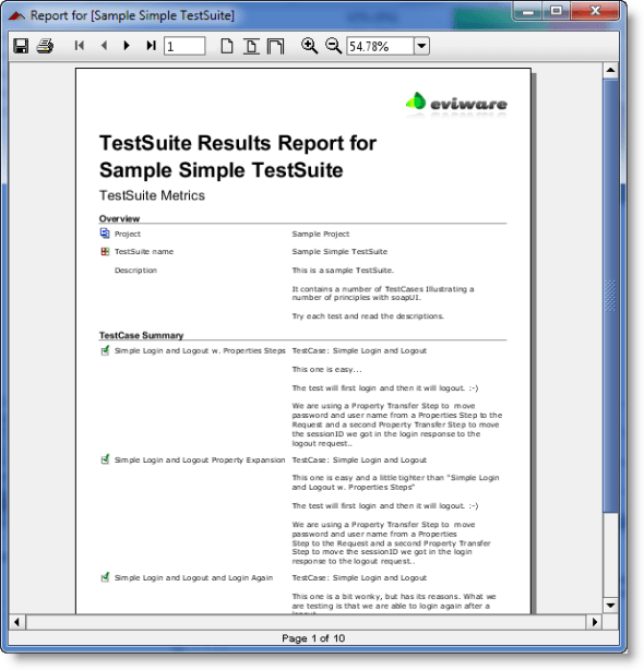 a web service testing result report created with soapUI Pro