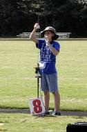 Sarah sets up her rocket-powered badmitton birdie