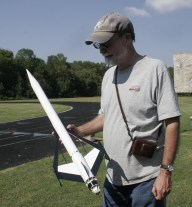 Jeff Coons with his new Estes Cosmic Interceptor