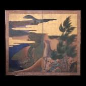 鹿図 二曲一隻/2panel screen w/Stag Edo period 18th century