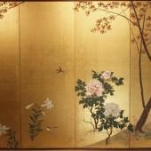 横山清暉 桜 牡丹図 六曲一隻/YOKOYAMA SEIKI 6panel screen