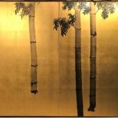 橋本関雪 金地 水墨 竹図 二曲一双/HASHIMOTO KANSETSU A pair of 2panel screen