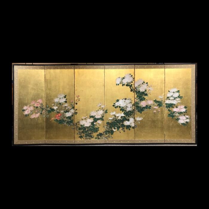金地 菊図 六曲一隻/6panel screen
