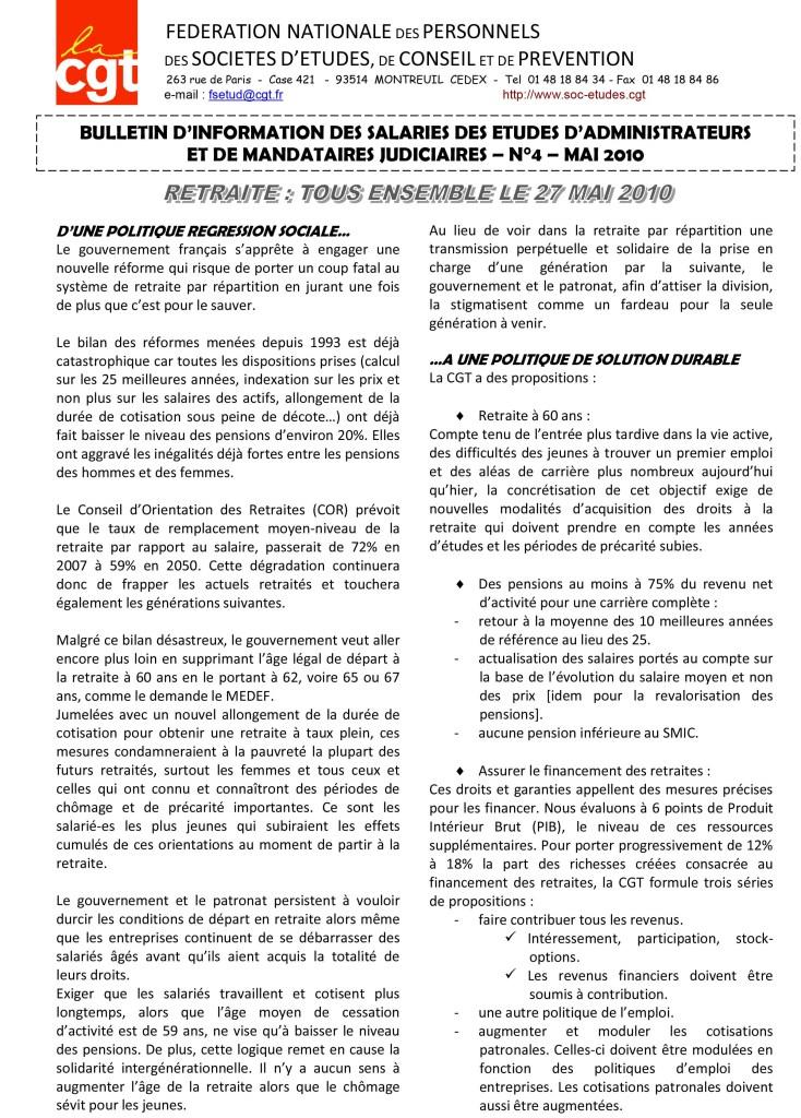 Bulletin d'Information AJMJ CGT N°4