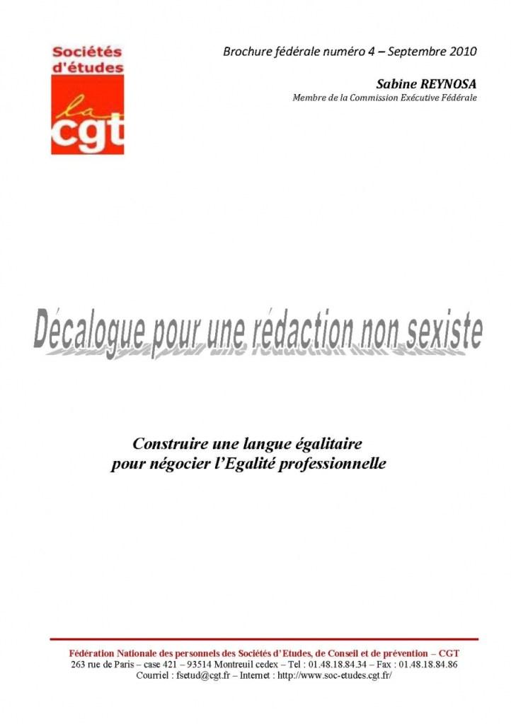 Brochure Fédérale n°4 – Décalogue pour une rédaction non sexiste