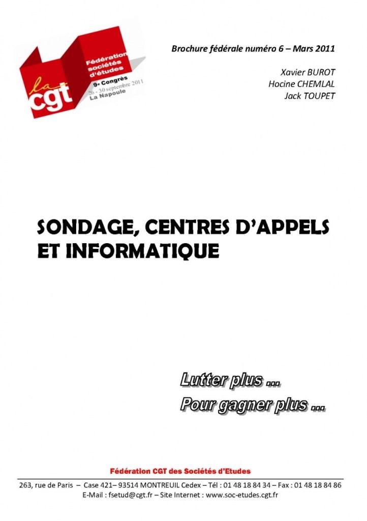 Brochure Fédérale n°6 – Sondage, Centres d'Appels et Informatique