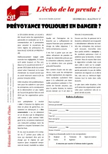 L'écho de la presta n°27 : Prévoyance toujours en danger ?