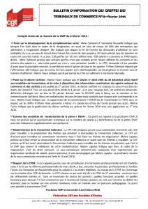 Bulletin d'information CGT n°18 des Greffes des Tribunaux de Commerce