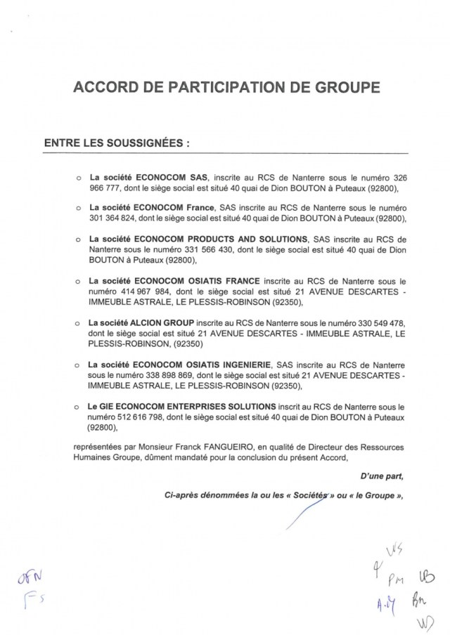 ECONOCOM : Participation 2018