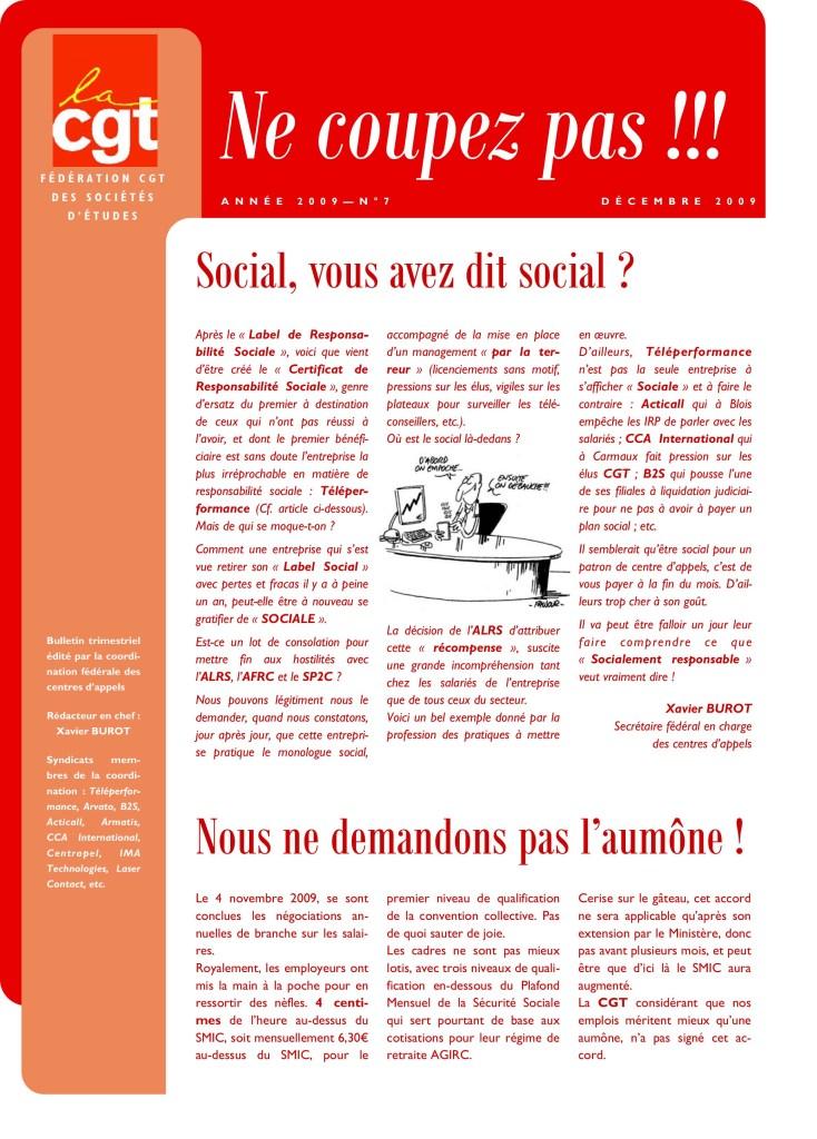 Ne Coupez Pas n°7 : Social, vous avez dit social ?
