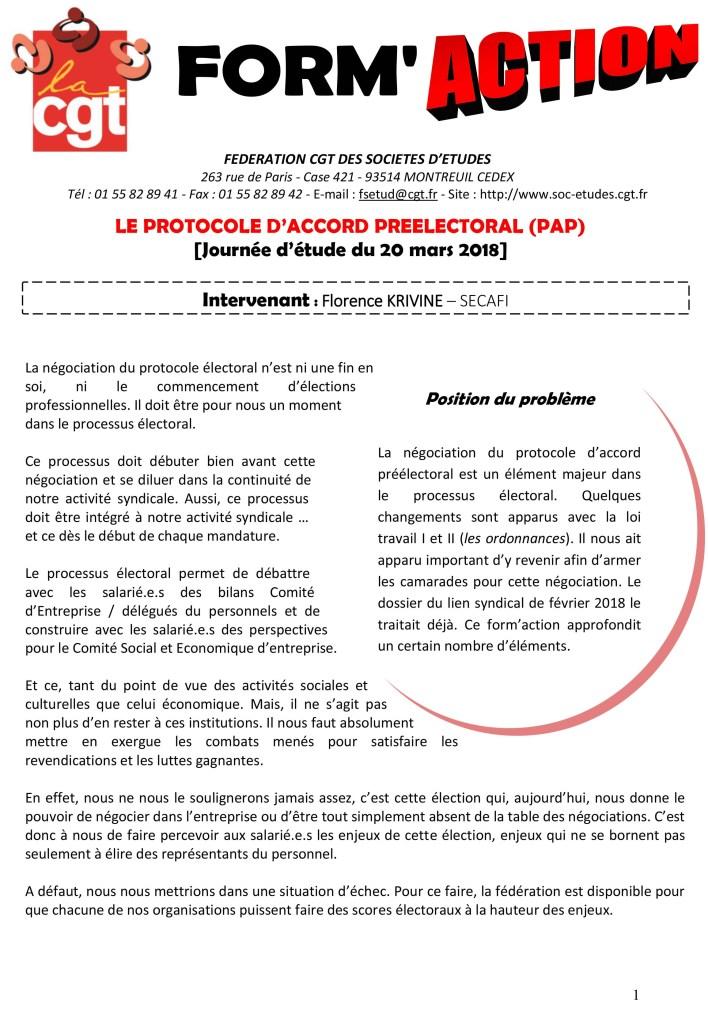 Form'Action mars 2018 : Le Protocole d'Accord Péélectoral (PAP)