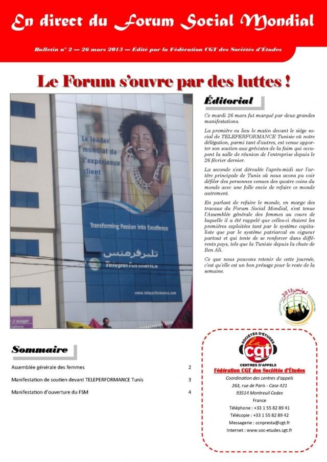En direct du FSM n°2 : Forum s'ouvre par des luttes !