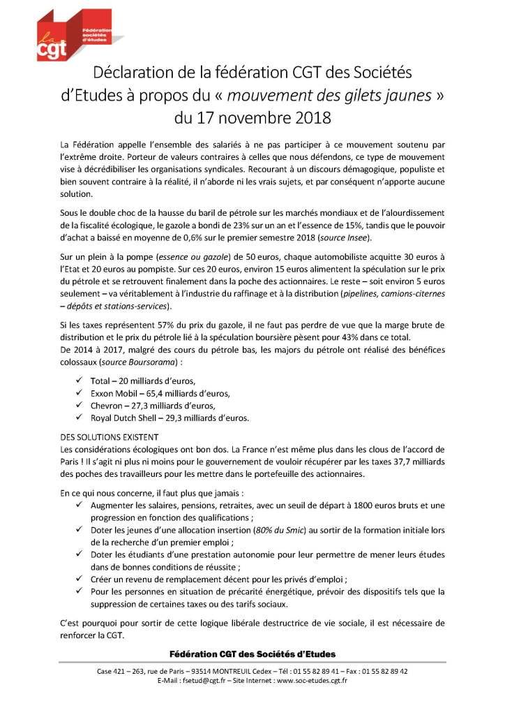 Déclaration de la fédération CGT des Sociétés d'Etudes à propos du « mouvement des gilets jaunes » du 17 novembre 2018