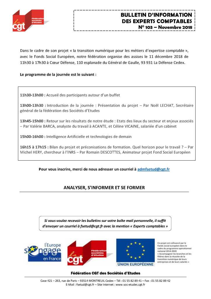 Bulletin d'information CGT Experts Comptables N°103