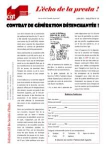 L'écho de la presta n°10 : Contrat de génération désenchantée !