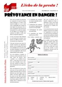 L'écho de la presta n°15 : Prévoyance en danger !